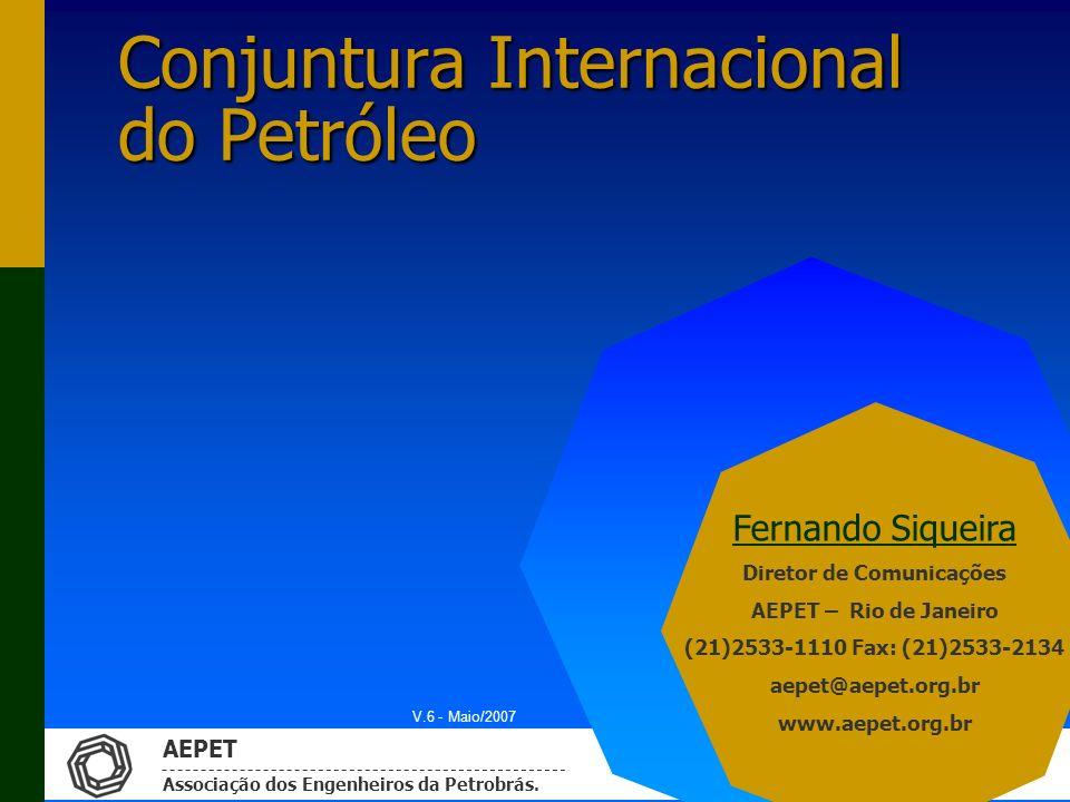 AEPET Associação dos Engenheiros da Petrobrás. Conjuntura Internacional do Petróleo Fernando Siqueira Diretor de Comunicações AEPET – Rio de Janeiro (