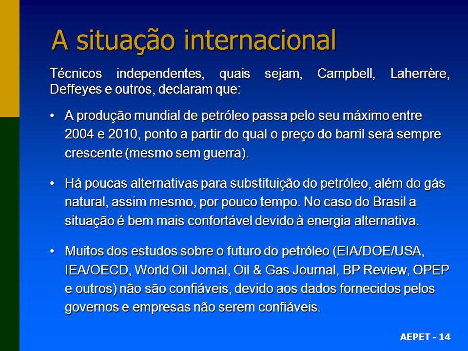 AEPET - 14 A situação internacional Técnicos independentes, quais sejam, Campbell, Laherrère, Deffeyes e outros, declaram que: A produção mundial de p