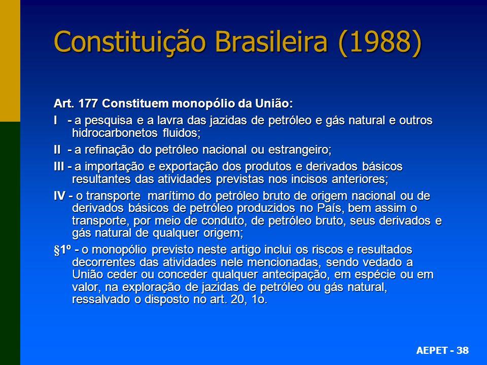 AEPET - 38 Constituição Brasileira (1988) Art. 177 Constituem monopólio da União: I - a pesquisa e a lavra das jazidas de petróleo e gás natural e out