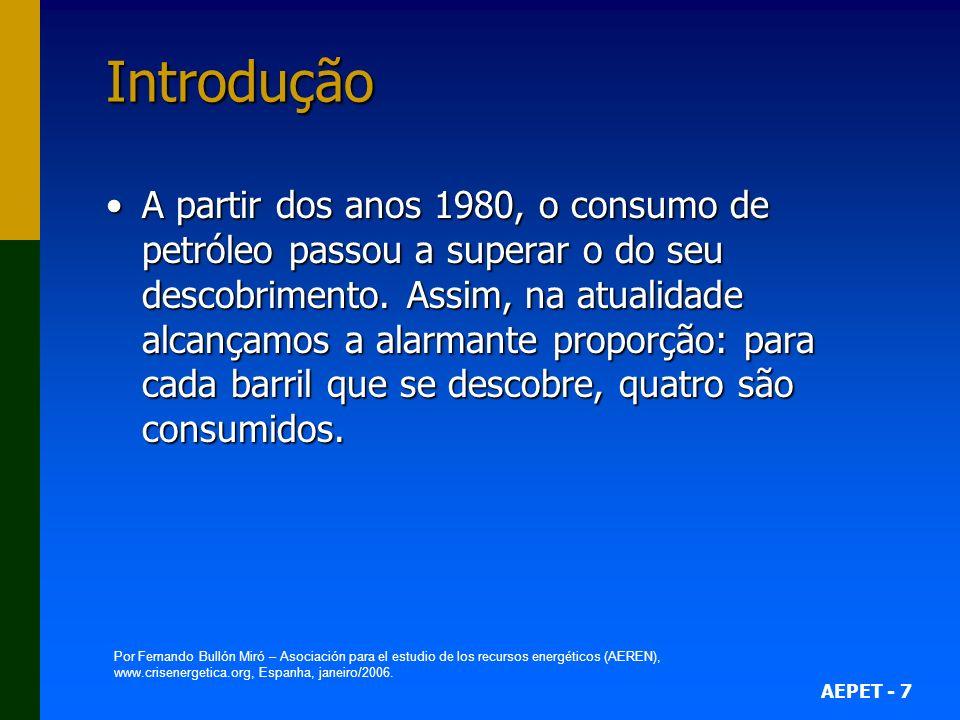 AEPET - 7 Introdução A partir dos anos 1980, o consumo de petróleo passou a superar o do seu descobrimento. Assim, na atualidade alcançamos a alarmant