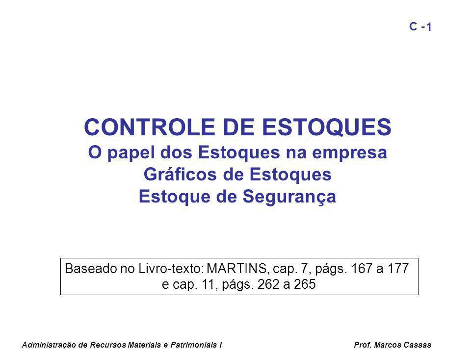 Administração de Recursos Materiais e Patrimoniais IProf. Marcos Cassas 1 C - CONTROLE DE ESTOQUES O papel dos Estoques na empresa Gráficos de Estoque