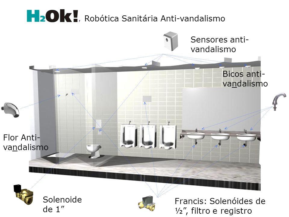Sensores anti- vandalismo Bicos anti- vandalismo Flor Anti- vandalismo Francis: Solenóides de ½, filtro e registro Solenoide de 1, Robótica Sanitária