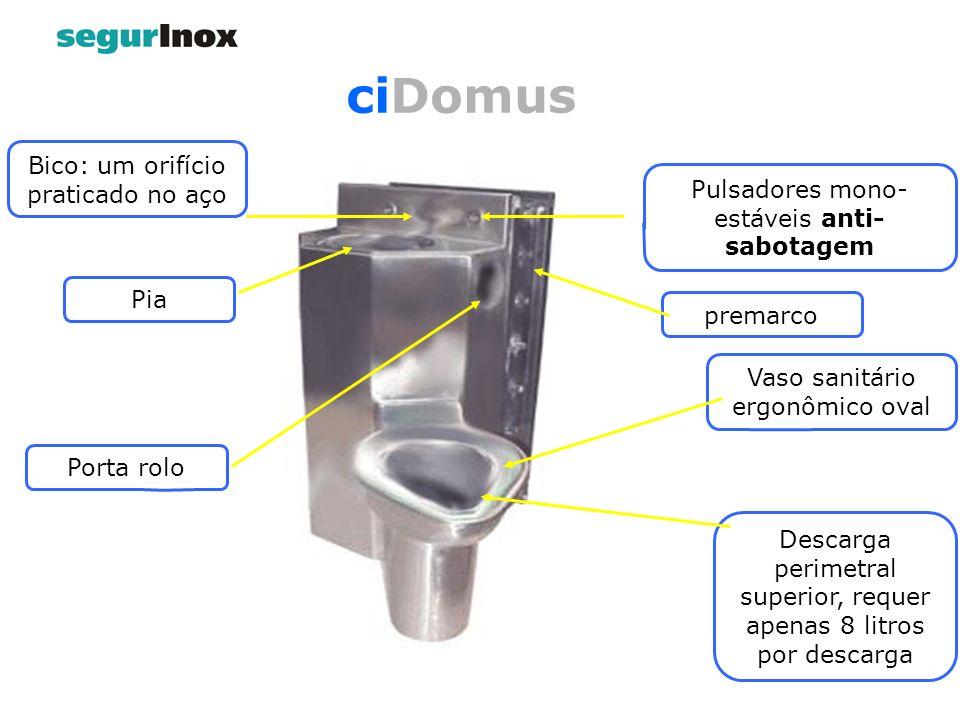 ciDomus Pulsadores mono- estáveis anti- sabotagem Bico: um orifício praticado no aço Pia Porta rolo Vaso sanitário ergonômico oval Descarga perimetral