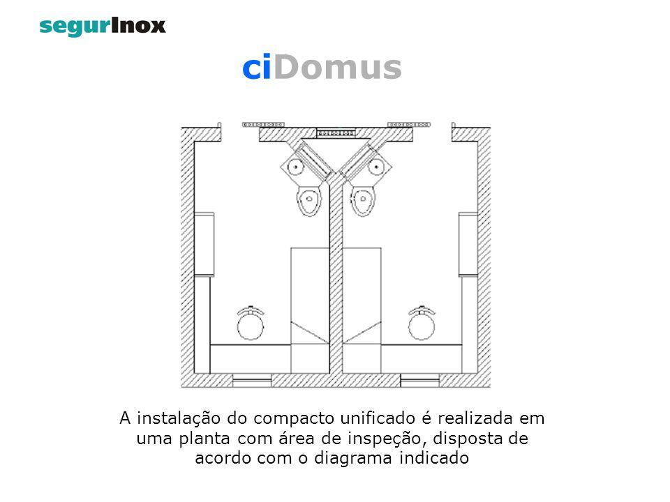 A instalação do compacto unificado é realizada em uma planta com área de inspeção, disposta de acordo com o diagrama indicado
