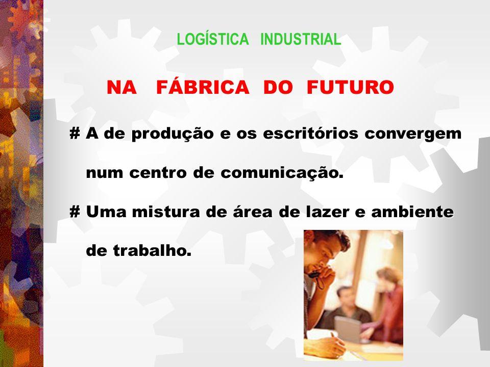 LOGÍSTICA INDUSTRIAL NA FÁBRICA DO FUTURO # A de produção e os escritórios convergem num centro de comunicação.