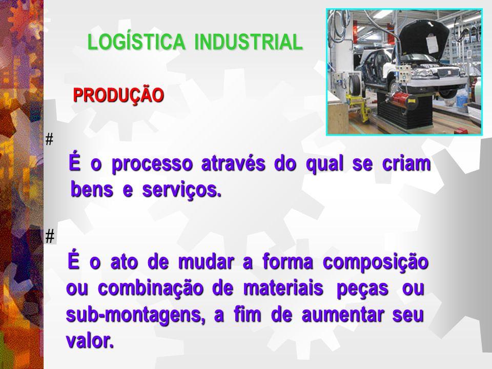 LOGÍSTICA INDUSTRIAL PRODUÇÃO # É o processo através do qual se criam bens e serviços.