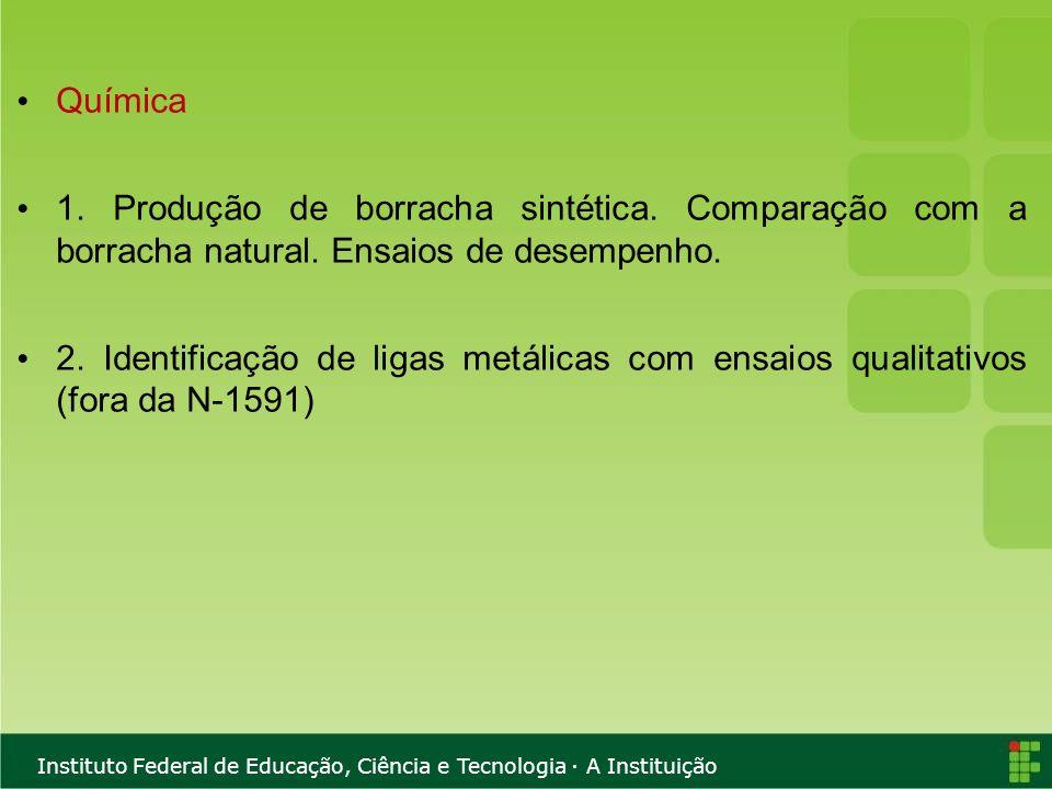 Instituto Federal de Educação, Ciência e Tecnologia · A Instituição Química 1. Produção de borracha sintética. Comparação com a borracha natural. Ensa