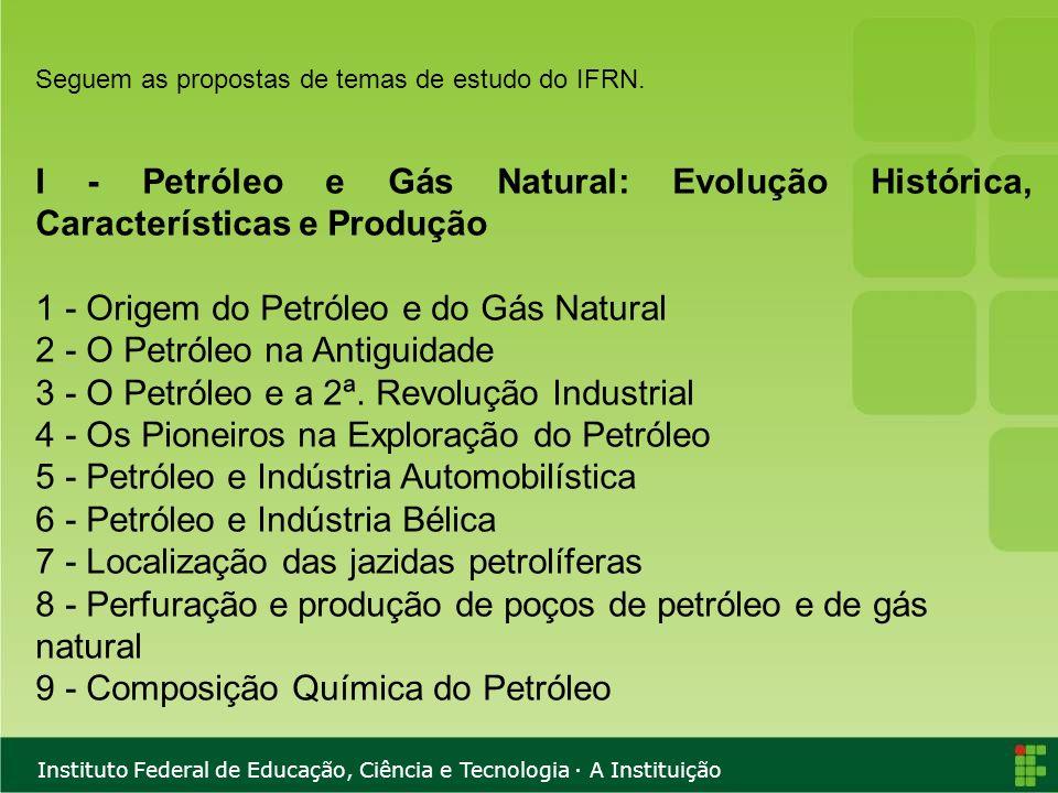 Instituto Federal de Educação, Ciência e Tecnologia · A Instituição Seguem as propostas de temas de estudo do IFRN. I - Petróleo e Gás Natural: Evoluç