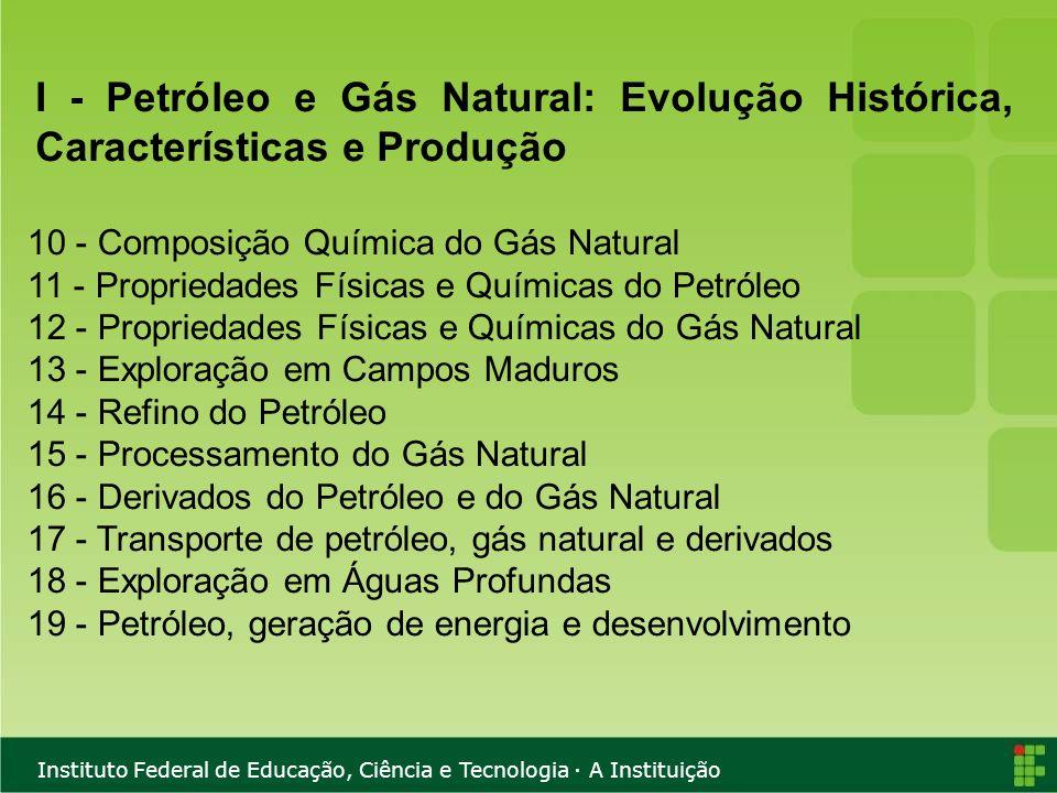 Instituto Federal de Educação, Ciência e Tecnologia · A Instituição 10 - Composição Química do Gás Natural 11 - Propriedades Físicas e Químicas do Pet