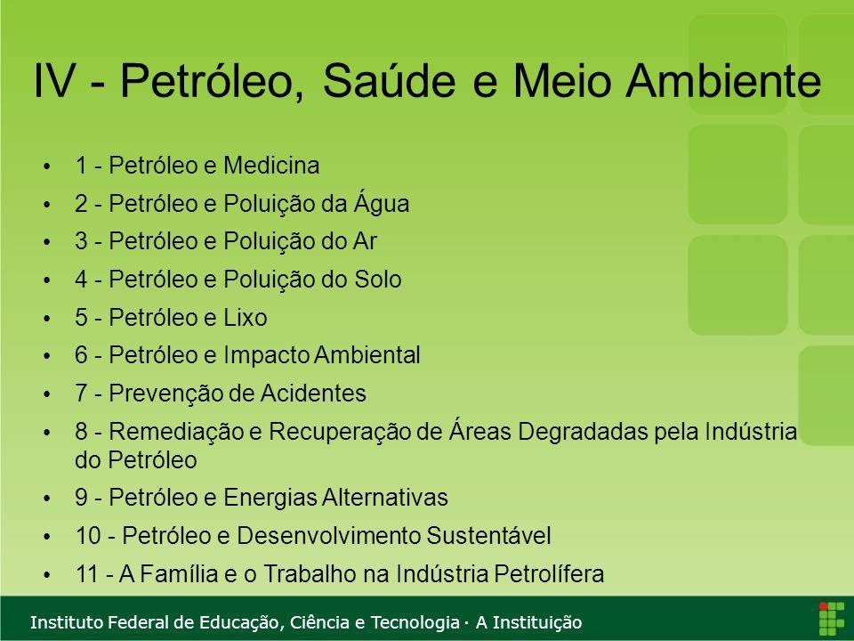 Instituto Federal de Educação, Ciência e Tecnologia · A Instituição IV - Petróleo, Saúde e Meio Ambiente 1 - Petróleo e Medicina 2 - Petróleo e Poluiç