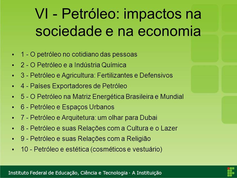 Instituto Federal de Educação, Ciência e Tecnologia · A Instituição VI - Petróleo: impactos na sociedade e na economia 1 - O petróleo no cotidiano das
