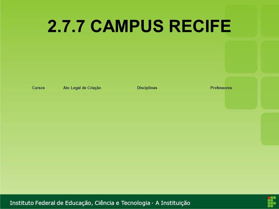 Instituto Federal de Educação, Ciência e Tecnologia · A Instituição 2.7.7 CAMPUS RECIFE CursosAto Legal de CriaçãoDisciplinasProfessores