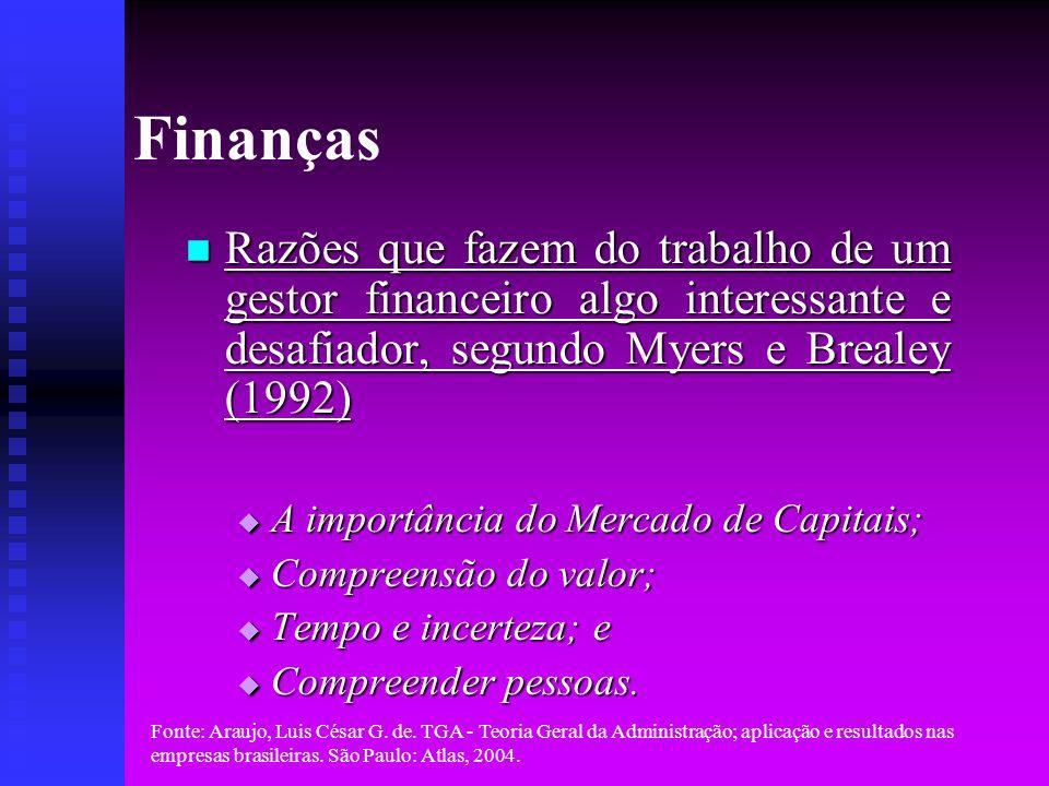 Fonte: Araujo, Luis César G. de. TGA - Teoria Geral da Administração; aplicação e resultados nas empresas brasileiras. São Paulo: Atlas, 2004. Finança