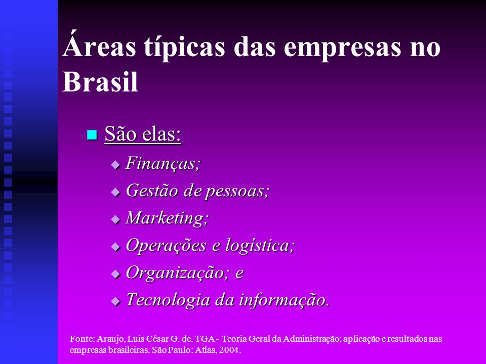 Fonte: Araujo, Luis César G. de. TGA - Teoria Geral da Administração; aplicação e resultados nas empresas brasileiras. São Paulo: Atlas, 2004. Áreas t
