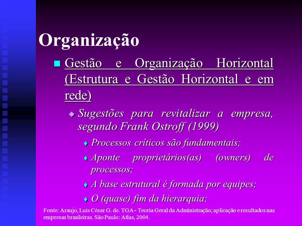 Fonte: Araujo, Luis César G. de. TGA - Teoria Geral da Administração; aplicação e resultados nas empresas brasileiras. São Paulo: Atlas, 2004. Organiz