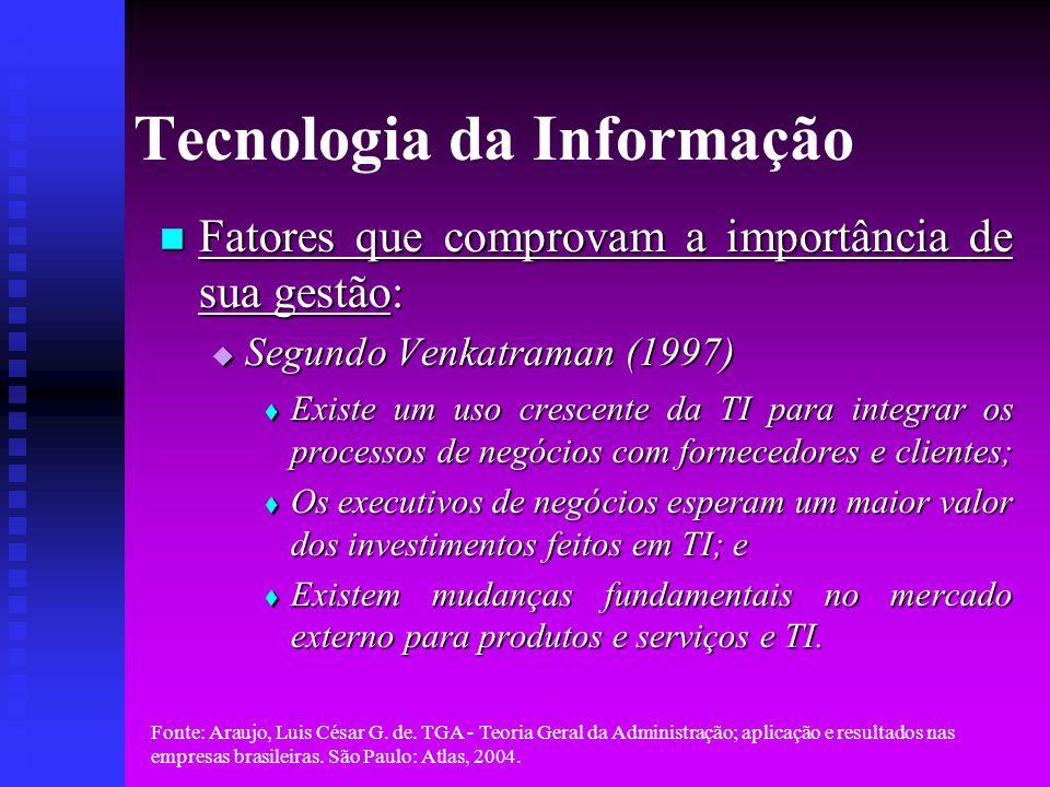 Fonte: Araujo, Luis César G. de. TGA - Teoria Geral da Administração; aplicação e resultados nas empresas brasileiras. São Paulo: Atlas, 2004. Tecnolo