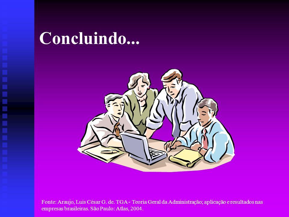 Fonte: Araujo, Luis César G. de. TGA - Teoria Geral da Administração; aplicação e resultados nas empresas brasileiras. São Paulo: Atlas, 2004. Conclui