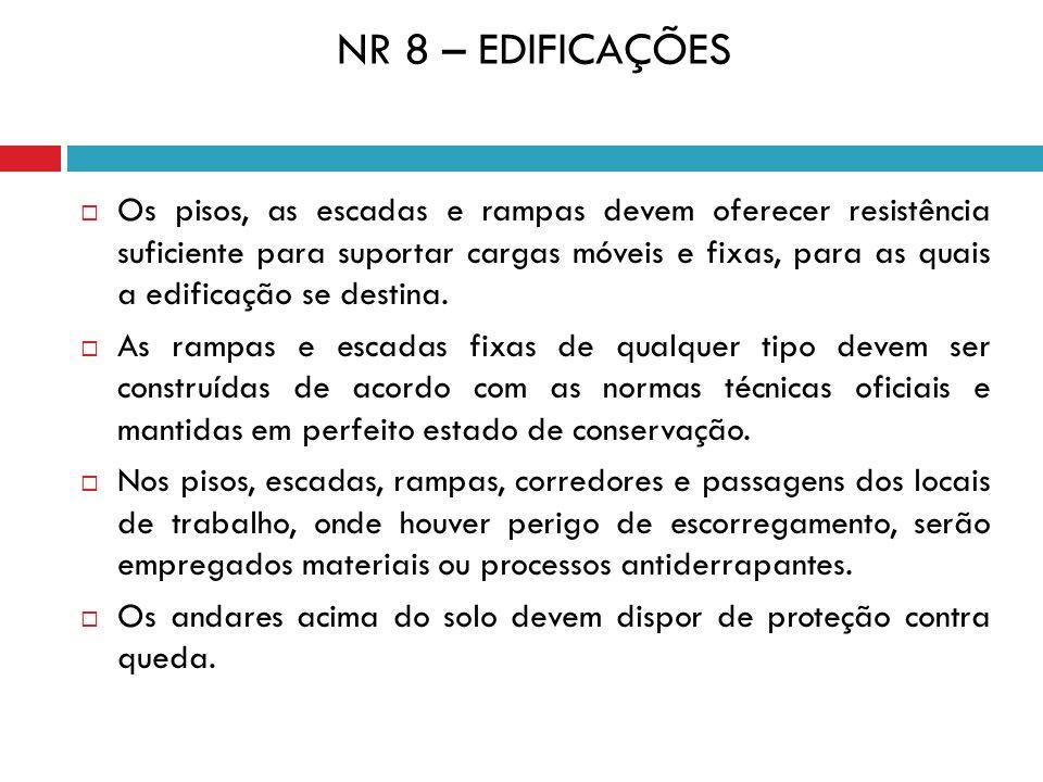 NR 8 – EDIFICAÇÕES Os pisos, as escadas e rampas devem oferecer resistência suficiente para suportar cargas móveis e fixas, para as quais a edificação