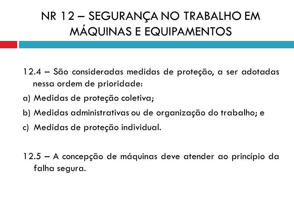 NR 12 – SEGURANÇA NO TRABALHO EM MÁQUINAS E EQUIPAMENTOS 12.4 – São consideradas medidas de proteção, a ser adotadas nessa ordem de prioridade: a) Med