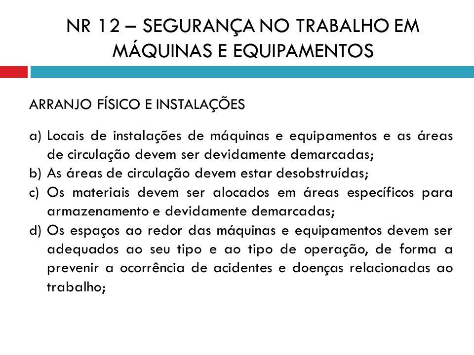 ARRANJO FÍSICO E INSTALAÇÕES a) Locais de instalações de máquinas e equipamentos e as áreas de circulação devem ser devidamente demarcadas; b) As área