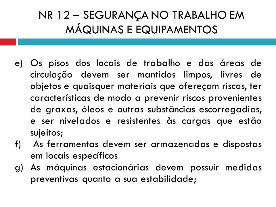 e) Os pisos dos locais de trabalho e das áreas de circulação devem ser mantidos limpos, livres de objetos e quaisquer materiais que ofereçam riscos, t
