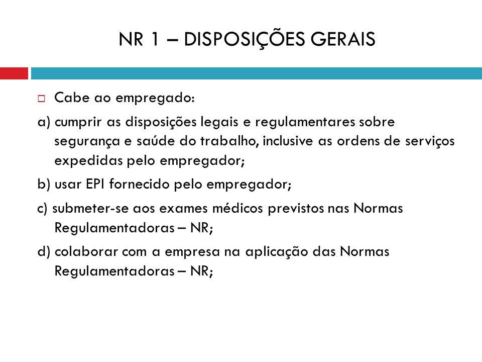 NR 1 – DISPOSIÇÕES GERAIS Cabe ao empregado: a) cumprir as disposições legais e regulamentares sobre segurança e saúde do trabalho, inclusive as orden