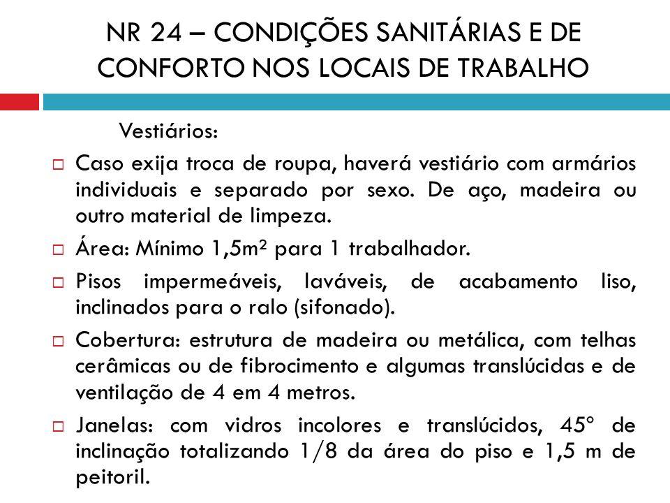 NR 24 – CONDIÇÕES SANITÁRIAS E DE CONFORTO NOS LOCAIS DE TRABALHO Vestiários: Caso exija troca de roupa, haverá vestiário com armários individuais e s