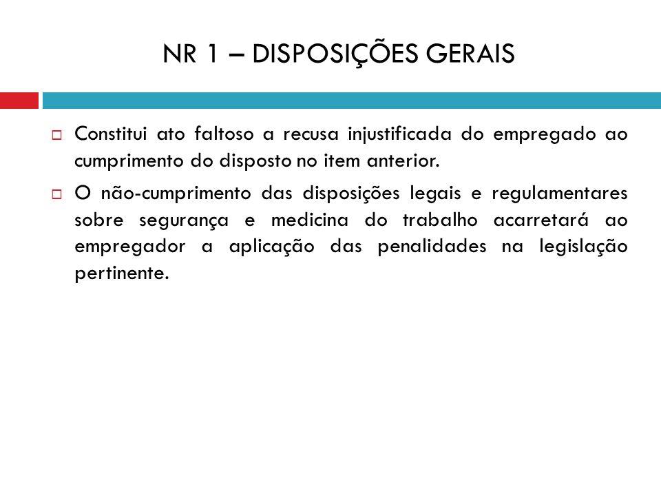 NR 1 – DISPOSIÇÕES GERAIS Constitui ato faltoso a recusa injustificada do empregado ao cumprimento do disposto no item anterior. O não-cumprimento das