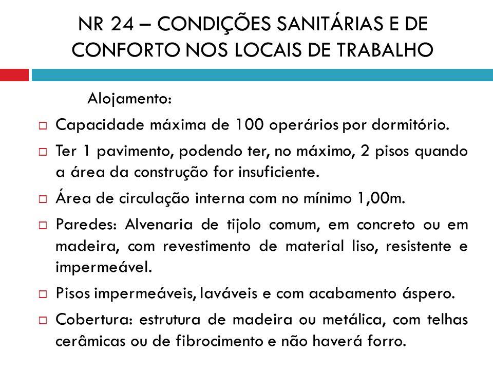 NR 24 – CONDIÇÕES SANITÁRIAS E DE CONFORTO NOS LOCAIS DE TRABALHO Alojamento: Capacidade máxima de 100 operários por dormitório. Ter 1 pavimento, pode