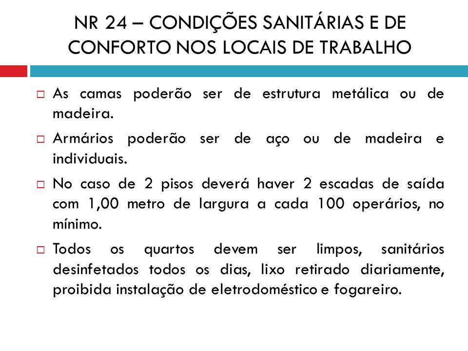 NR 24 – CONDIÇÕES SANITÁRIAS E DE CONFORTO NOS LOCAIS DE TRABALHO As camas poderão ser de estrutura metálica ou de madeira. Armários poderão ser de aç