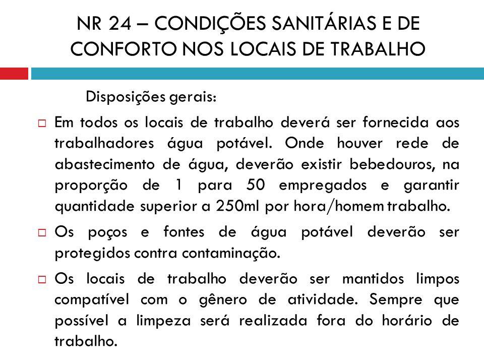 NR 24 – CONDIÇÕES SANITÁRIAS E DE CONFORTO NOS LOCAIS DE TRABALHO Disposições gerais: Em todos os locais de trabalho deverá ser fornecida aos trabalha