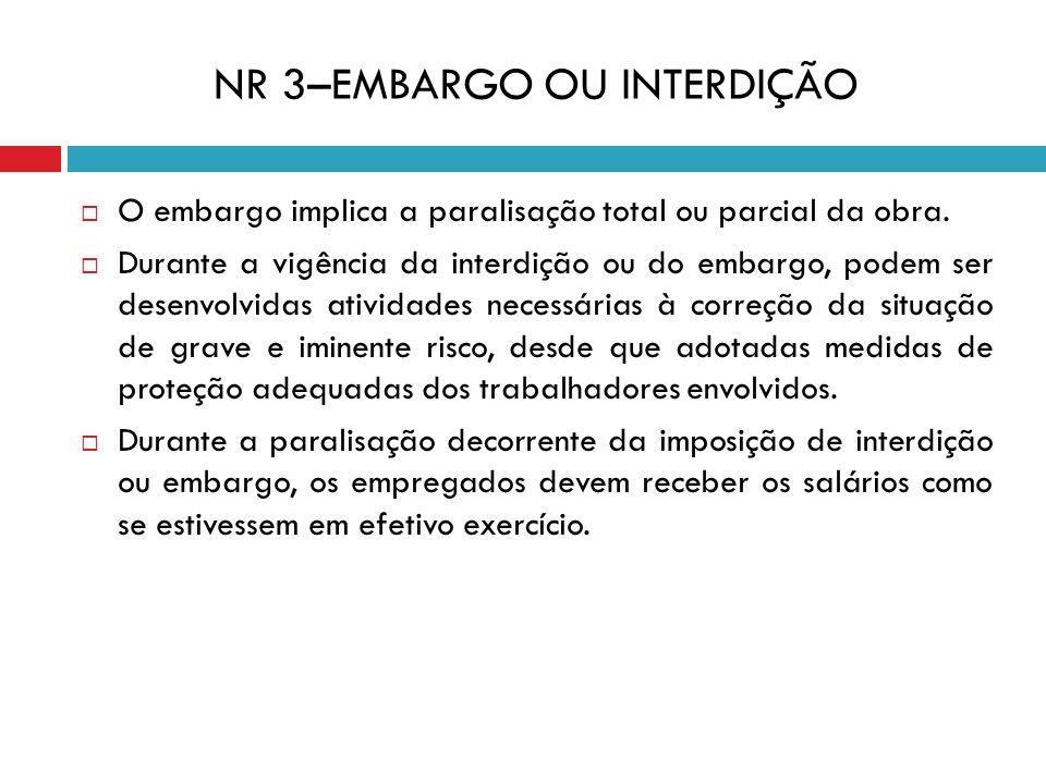NR 3–EMBARGO OU INTERDIÇÃO O embargo implica a paralisação total ou parcial da obra. Durante a vigência da interdição ou do embargo, podem ser desenvo
