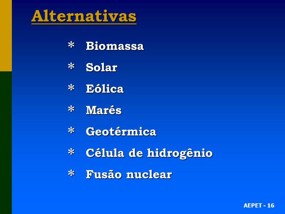 AEPET - 16 Alternativas Biomassa Biomassa Solar Solar Eólica Eólica Marés Marés Geotérmica Geotérmica Célula de hidrogênio Célula de hidrogênio Fusão nuclear Fusão nuclear