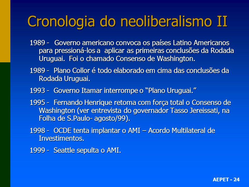 AEPET - 24 Cronologia do neoliberalismo II 1989 -Governo americano convoca os países Latino Americanos para pressioná-los a aplicar as primeiras conclusões da Rodada Uruguai.