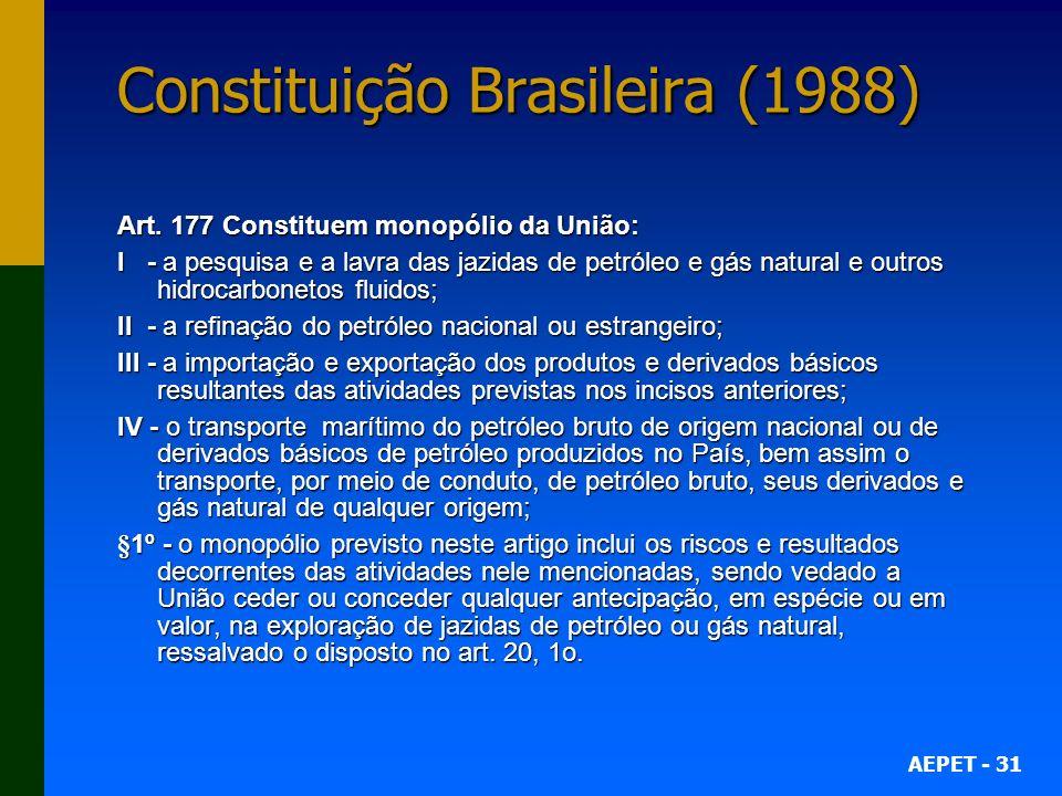 AEPET - 31 Constituição Brasileira (1988) Art.