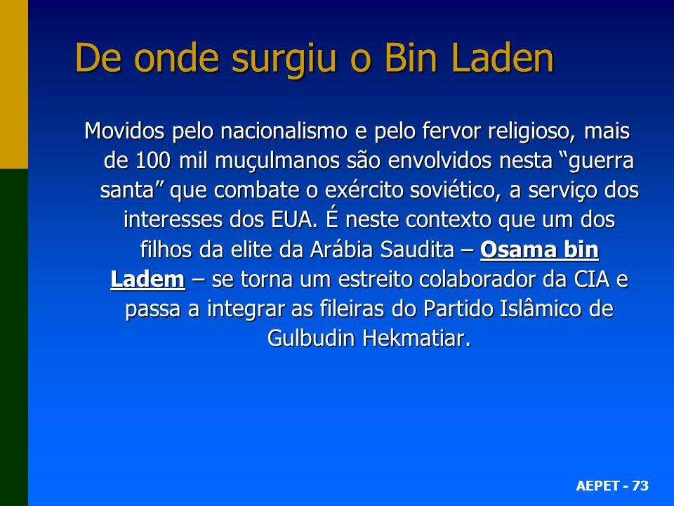 AEPET - 73 De onde surgiu o Bin Laden Movidos pelo nacionalismo e pelo fervor religioso, mais de 100 mil muçulmanos são envolvidos nesta guerra santa que combate o exército soviético, a serviço dos interesses dos EUA.