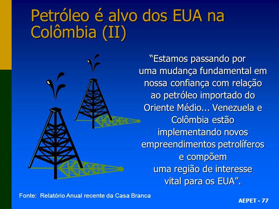 AEPET - 77 Petróleo é alvo dos EUA na Colômbia (II) Estamos passando por uma mudança fundamental em nossa confiança com relação ao petróleo importado do Oriente Médio...