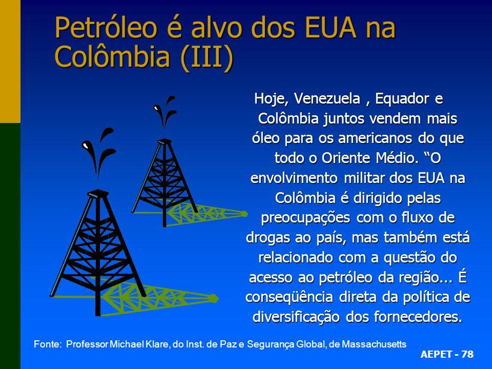 AEPET - 78 Petróleo é alvo dos EUA na Colômbia (III) Hoje, Venezuela, Equador e Colômbia juntos vendem mais óleo para os americanos do que todo o Oriente Médio.