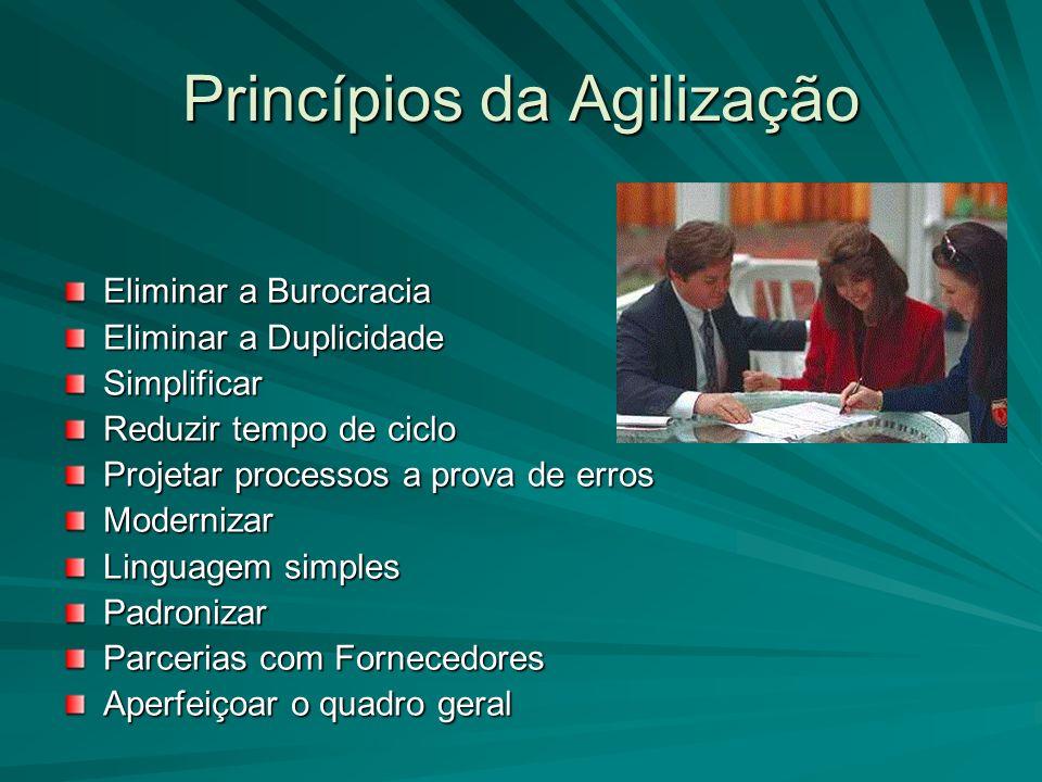 Princípios da Agilização Eliminar a Burocracia Eliminar a Duplicidade Simplificar Reduzir tempo de ciclo Projetar processos a prova de erros Moderniza
