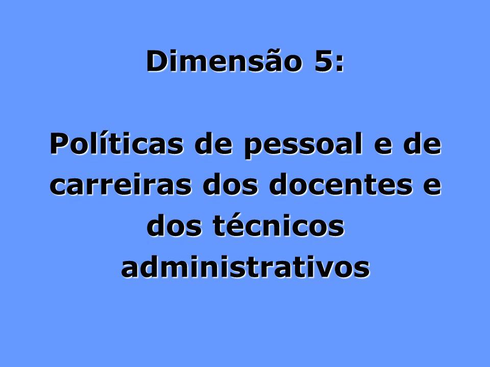 Dimensão 5: Políticas de pessoal e de carreiras dos docentes e dos técnicos administrativos