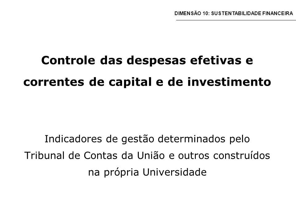 Controle das despesas efetivas e correntes de capital e de investimento Indicadores de gestão determinados pelo Tribunal de Contas da União e outros construídos na própria Universidade DIMENSÃO 10: SUSTENTABILIDADE FINANCEIRA