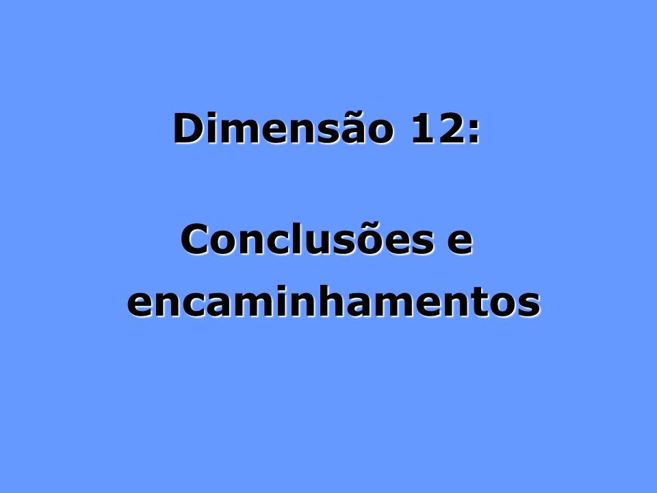 Dimensão 12: Conclusões e encaminhamentos encaminhamentos