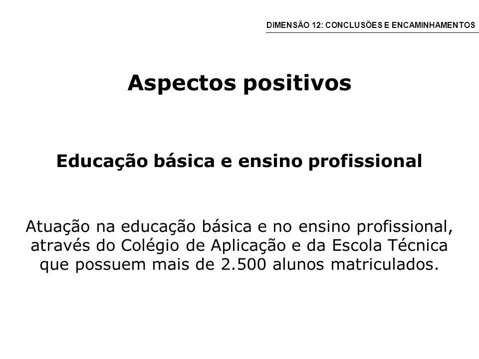 Aspectos positivos Educação básica e ensino profissional Atuação na educação básica e no ensino profissional, através do Colégio de Aplicação e da Escola Técnica que possuem mais de 2.500 alunos matriculados.