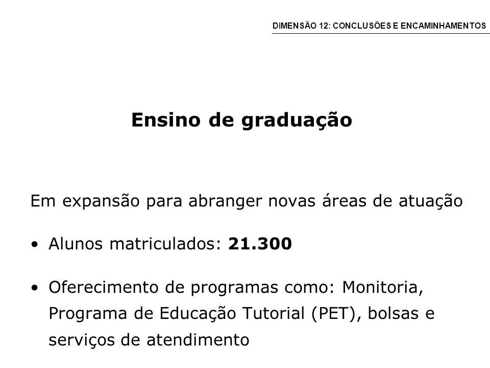 Ensino de graduação Em expansão para abranger novas áreas de atuação Alunos matriculados: 21.300 Oferecimento de programas como: Monitoria, Programa de Educação Tutorial (PET), bolsas e serviços de atendimento DIMENSÃO 12: CONCLUSÕES E ENCAMINHAMENTOS