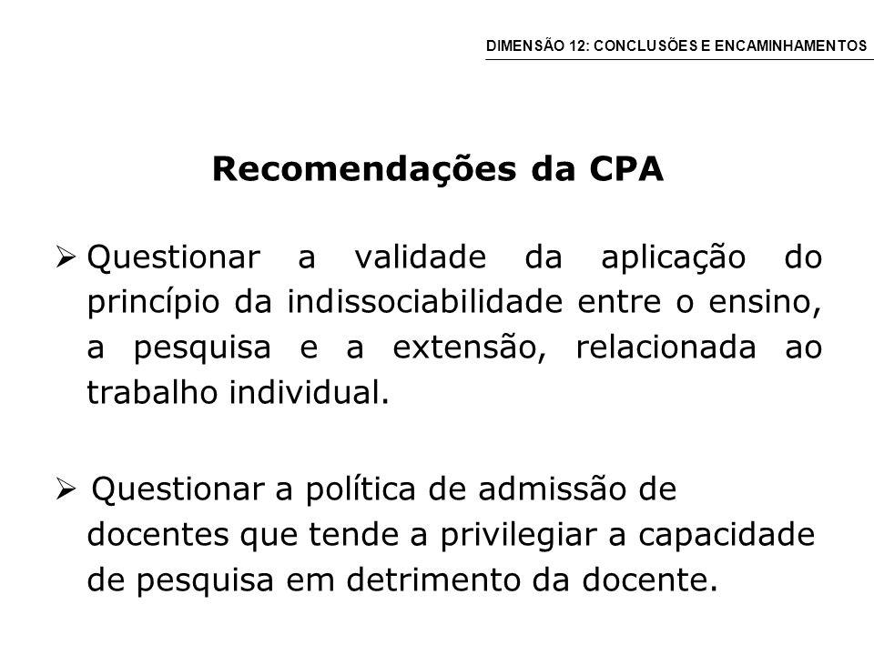 Recomendações da CPA Questionar a validade da aplicação do princípio da indissociabilidade entre o ensino, a pesquisa e a extensão, relacionada ao trabalho individual.