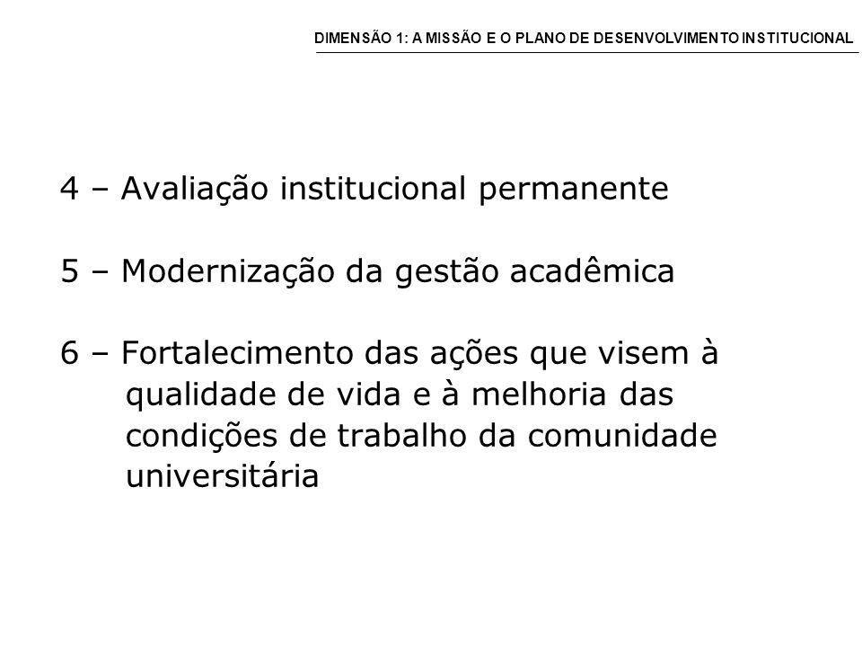 4 – Avaliação institucional permanente 5 – Modernização da gestão acadêmica 6 – Fortalecimento das ações que visem à qualidade de vida e à melhoria das condições de trabalho da comunidade universitária DIMENSÃO 1: A MISSÃO E O PLANO DE DESENVOLVIMENTO INSTITUCIONAL