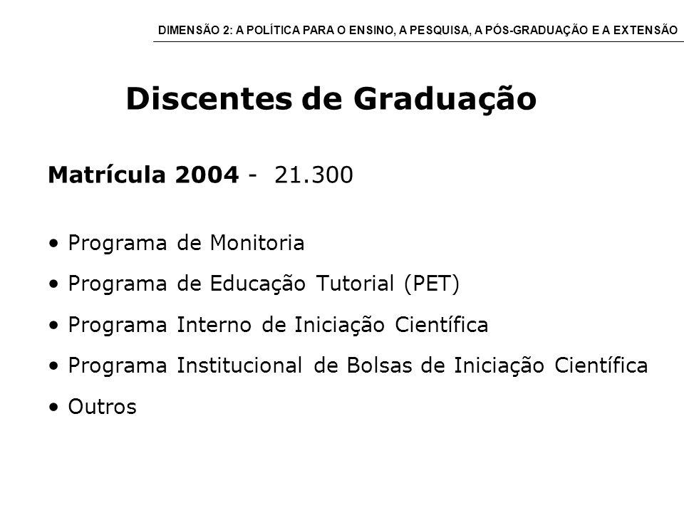 Discentes de Graduação Matrícula 2004 - 21.300 Programa de Monitoria Programa de Educação Tutorial (PET) Programa Interno de Iniciação Científica Programa Institucional de Bolsas de Iniciação Científica Outros DIMENSÃO 2: A POLÍTICA PARA O ENSINO, A PESQUISA, A PÓS-GRADUAÇÃO E A EXTENSÃO