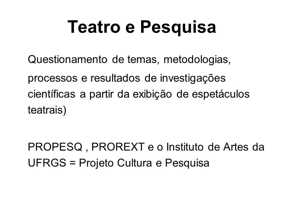 Teatro e Pesquisa Questionamento de temas, metodologias, processos e resultados de investigações científicas a partir da exibição de espetáculos teatrais) PROPESQ, PROREXT e o Instituto de Artes da UFRGS = Projeto Cultura e Pesquisa