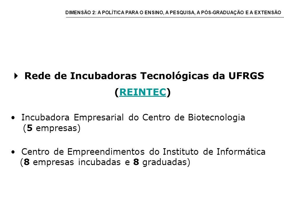 Rede de Incubadoras Tecnológicas da UFRGS (REINTEC)REINTEC Incubadora Empresarial do Centro de Biotecnologia (5 empresas) Centro de Empreendimentos do Instituto de Informática (8 empresas incubadas e 8 graduadas) DIMENSÃO 2: A POLÍTICA PARA O ENSINO, A PESQUISA, A PÓS-GRADUAÇÃO E A EXTENSÃO