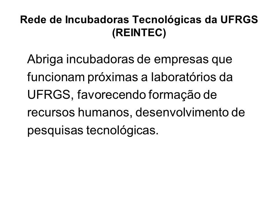 Rede de Incubadoras Tecnológicas da UFRGS (REINTEC) Abriga incubadoras de empresas que funcionam próximas a laboratórios da UFRGS, favorecendo formação de recursos humanos, desenvolvimento de pesquisas tecnológicas.